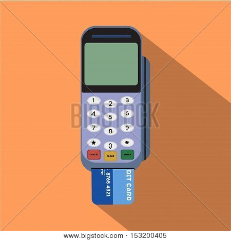 Credit card reader. Flat style design with long shadow