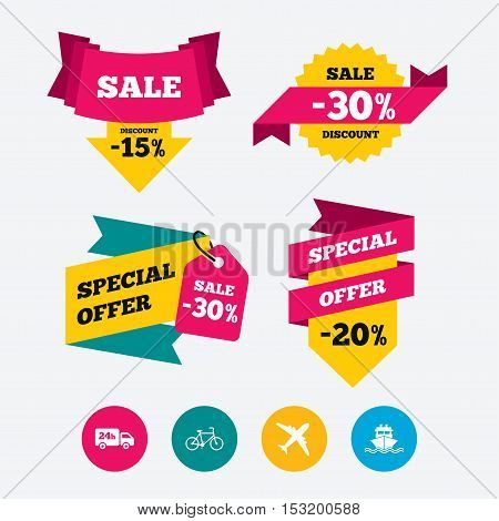 Cargo truck and shipping icons. Shipping and eco bicycle delivery signs. Transport symbols. 24h service. Web stickers, banners and labels. Sale discount tags. Special offer signs. Vector