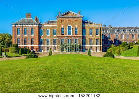 London, UK - September 30, 2016 - Kensington Palace in Hyde Park