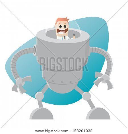 funny cartoon man in a big robot