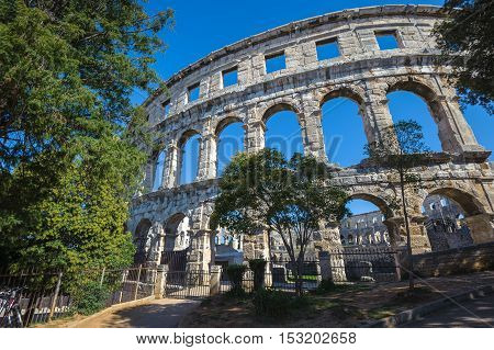 Ancient Roman Amphitheater In Pula, Croatia. Unesco World Heritage Site.