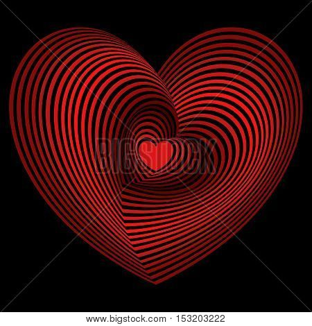 Red Heart Into The Lot Of Heart Shapes Over Black