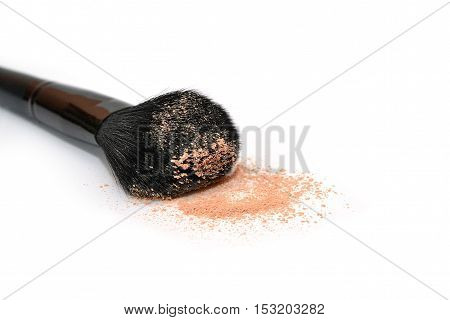 A large powder brush Cosmetics. Face powder. Isolated. Makeup