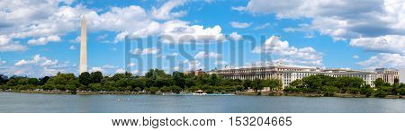 High resolution panoramic view of the Tidal Basin and the Washington Monument in Washington D.C.