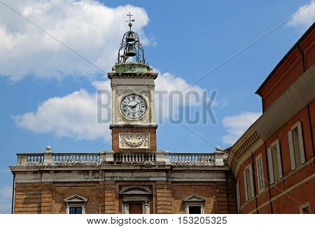 Clock Tower In Piazza Del Popolo In The City Of Ravenna In Italy