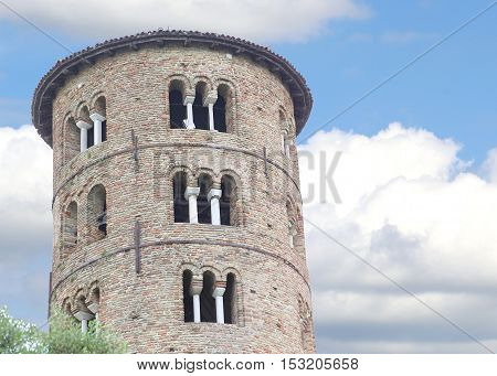 Ancient Bell Tower Of Saint Apollinare In Classe Near The Town O