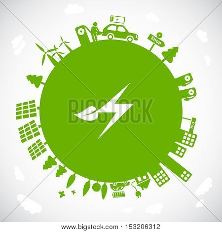 Earth illustration with electric symbol. Electro mobility, electric cars charging. Sustainable development, ecology & green energy concept.