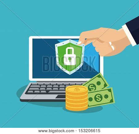 Laptop and padlock icon. Security system cyber warning and protection theme. Colorful design. Vector illustration