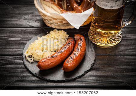 Pretzels, bratwurst and sauerkraut