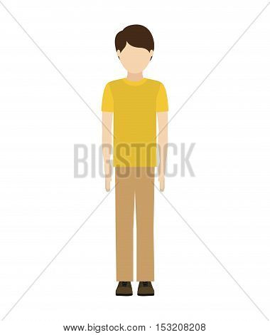 avatar man standing and wearing casual clothes over white background. vector illustration