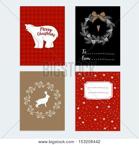 Set of Christmas New Year greeting journaling cards invitations. Hand drawn illustration of polar bear hare decorative Christmas mistletoe and pine wreath. Vector backgrounds.
