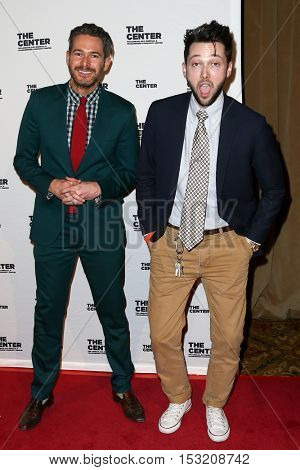 NEW YORK-APR 2: Designer Chris Benz (R) and event planner Bronson Van Wyck attend the 2015 Center Dinner at Cipriani Wall Street on April 2, 2015 in New York City.