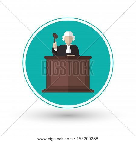 Judge with hammer icon. Law justice legal and judgment theme. Colorful design. Vector illustration