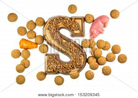 Decorated Chocolate Letter With Ginger Nuts Or Pepernoten And Marzipan