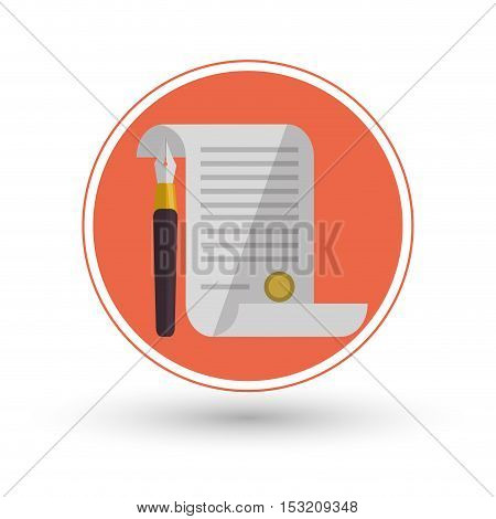 Document icon. Law justice legal and judgment theme. Colorful design. Vector illustration
