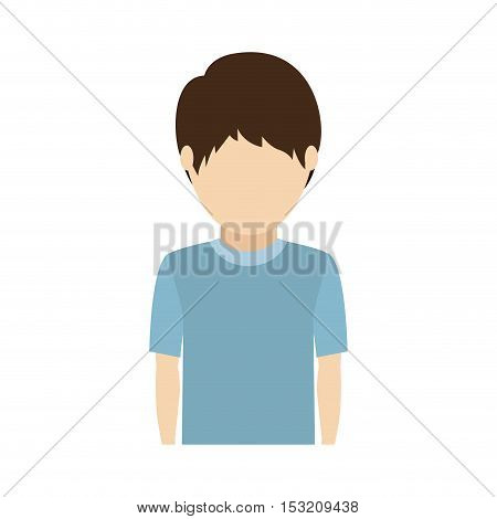 avatar male kid wearing casual clothes over white background. vector illustration