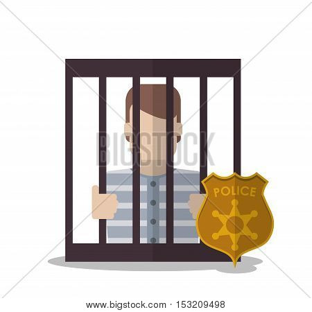 Guilty inside jail and police shield icon. Law justice legal and judgment theme. Colorful design. Vector illustration