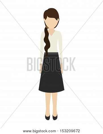 avatar woman cartoon standing and wearing casual clothes over white background. vector illustration