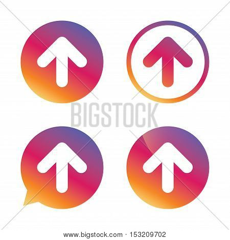Upload sign icon. Upload button. Load symbol. Gradient buttons with flat icon. Speech bubble sign. Vector