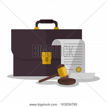 Document suitcase and hammer icon. Law justice legal and judgment theme. Colorful design. Vector illustration