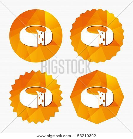 Cheese wheel sign icon. Sliced cheese symbol. Round cheese with holes. Triangular low poly buttons with flat icon. Vector