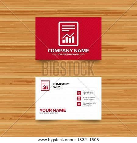 Business card template. Text file sign icon. Add File document with chart symbol. Accounting symbol. Phone, globe and pointer icons. Visiting card design. Vector