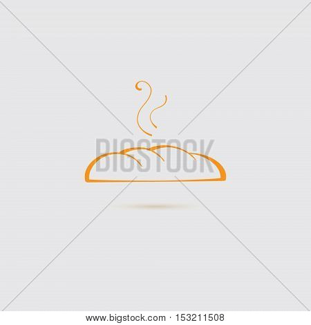 Fresh Bread Icon with Steam. Vector EPS 10