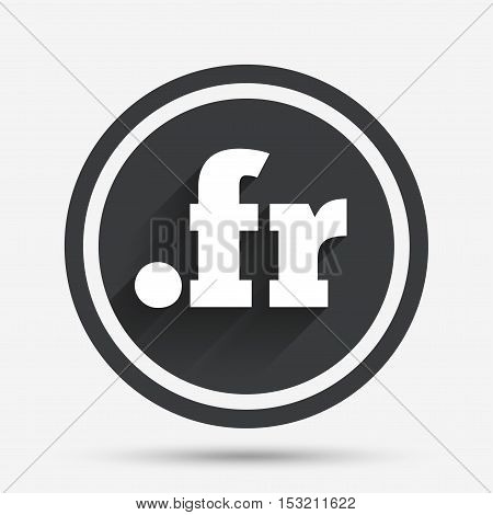 Domain FR sign icon. Top-level internet domain symbol. Circle flat button with shadow and border. Vector