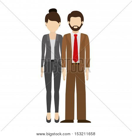 couple man and woman wearing executive clothes over white background. vector illustration