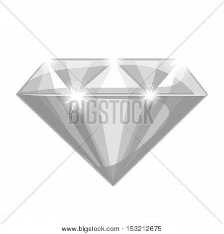shiny diamond icon. luxury gemstone over white background. vector illustration