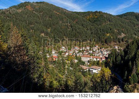 Amazing view of town of Shiroka Laka and Rhodope Mountains, Smolyan Region, Bulgaria