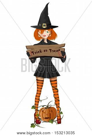 Cute girl in a witch costume holding a sign with the text - trick or treat. Jack-o'-lantern. People in carnival costumes on white background. Vector element for design, prints and greeting cards