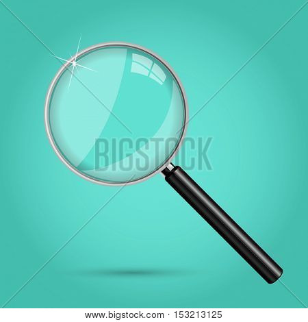 Magnifying glass illustration on a colorful background