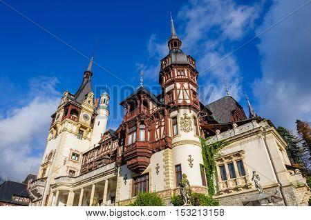 Beautiful Peles castle and ornamental garden in Sinaia, Romania, between Valachia and Transylvania poster