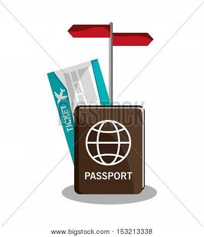 Passport and ticket icon. travel trip vacation and tourism theme. Colorful design. Vector illustration