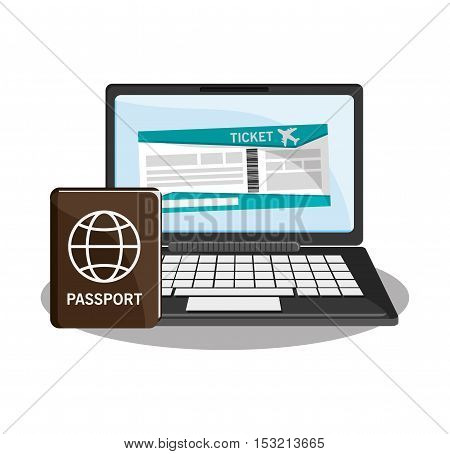 Passport and laptop icon. travel trip vacation and tourism theme. Colorful design. Vector illustration