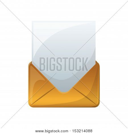 envelope mail with paper page icon over white background. vector illustration