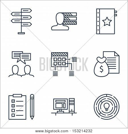 Set Of Project Management Icons On Reminder, Computer And Report Topics. Editable Vector Illustratio