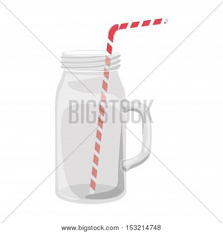 mason jar container with red and white striped straw over white background. vector illustration