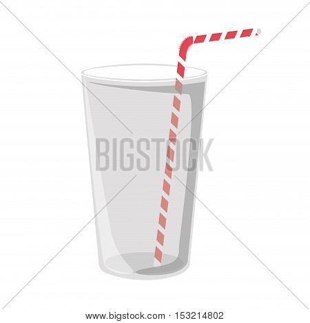 glass drink container with red and white striped straw over white background. vector illustration