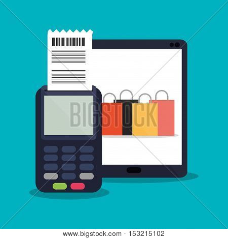 Tablet bags and dataphone icon. Shopping online ecommerce media and market theme. Colorful design. Vector illustration