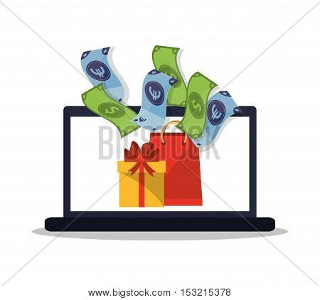 Laptop gift bag and bills  icon. Shopping online ecommerce media and market theme. Colorful design. Vector illustration