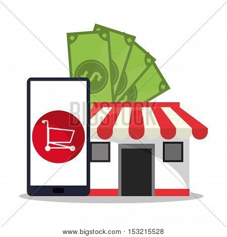 Smartphone cart bills and store icon. Shopping online ecommerce media and market theme. Colorful design. Vector illustration