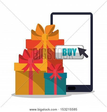 Smartphone and gift icon. Shopping online ecommerce media and market theme. Colorful design. Vector illustration