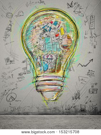 Lightbulb drawn and colored with business sketches