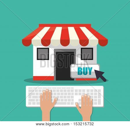 Store and keyboard icon. Shopping online ecommerce media and market theme. Colorful design. Vector illustration