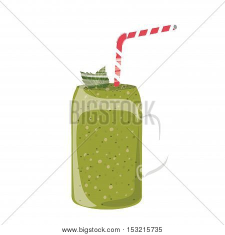 green juice smoothie on mason jar with straw and leaves decorations over white background. vector illustration