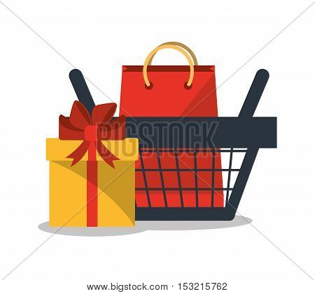 Gift bag and basket icon. Shopping online ecommerce media and market theme. Colorful design. Vector illustration