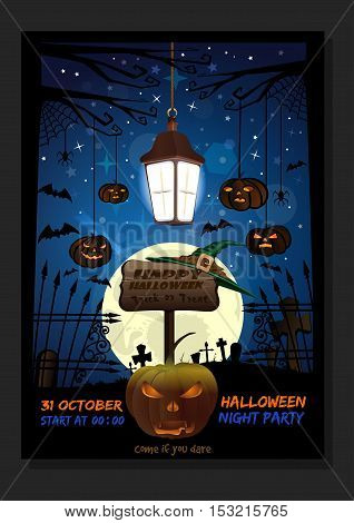 Halloween design with jack-o'-lantern against the background of the cemetery and full moon. Halloween night party. Invitation card. Vector illustration