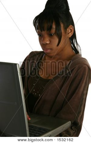 Beautiful Fifteen Year Old Teen With Laptop